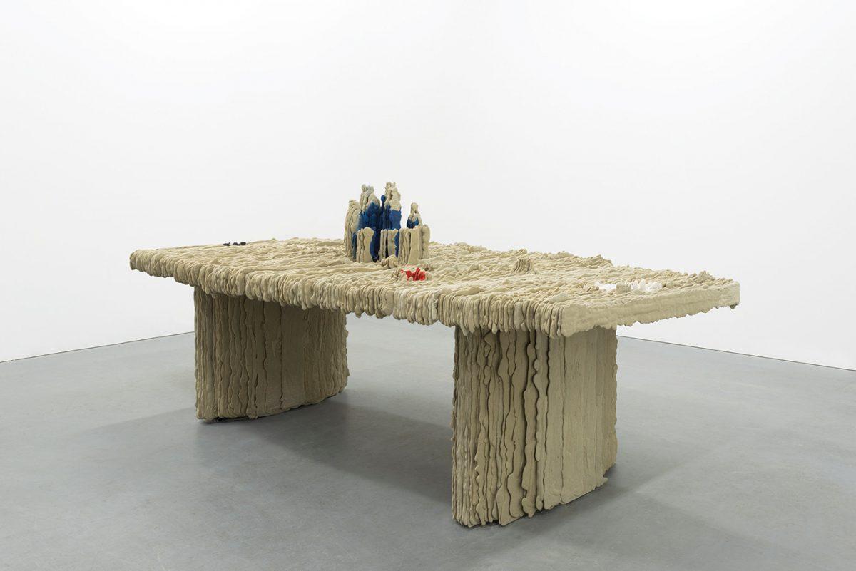 Dwyer Kilcollin - Banquet, Conference, 2015. Granite, feldspar, calcium carbonate, resin. 43 x 102 x 71 inches. image courtesy M+B Gallery, Los Angeles.