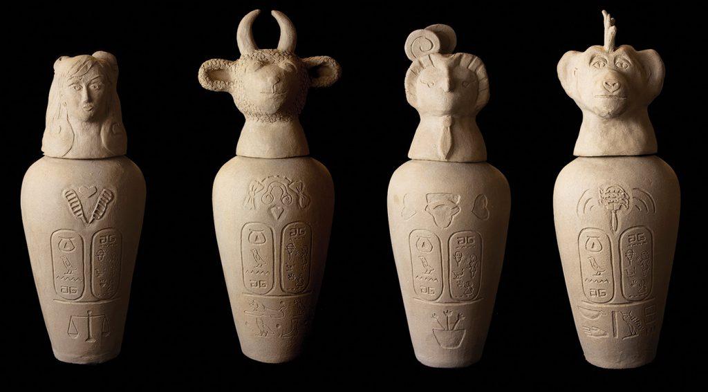 "Kathy Aoki. Canopic Jars (Of Gwen Stefani), 2009. Ceramic. 15"" x 5"" x 5""—Startup Fair LA"