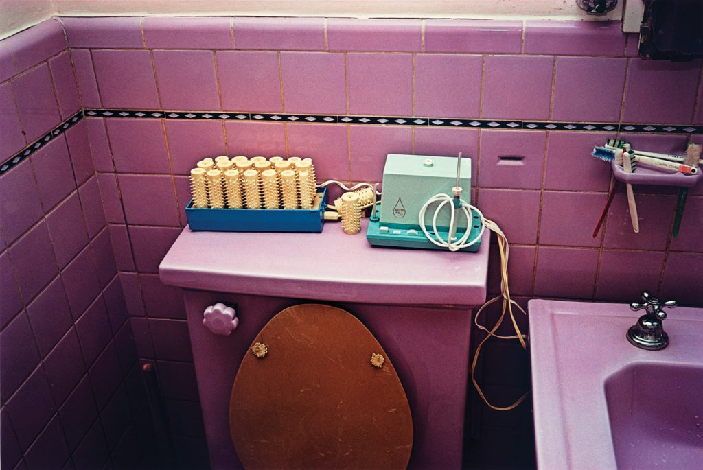 William Eggleston. Untitled [Pink bathroom], 1970-1973. 20 x 16 inch Dye Transfer Print. Number five in a limited edition of ten. From the Eggleston Artistic Trust, the collection of the artist. Courtesy Rose Gallery, Santa Monica—CLASSIC PHOTOGRAPHS LOS ANGELES.