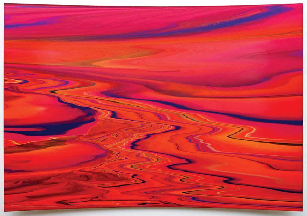 Andy Moses,Morphology 1505, 2015, acrylic on polycarbonate mounted on concave wood panel, 54x78 inches. Photo by Alan Shaffer, courtesy of William Turner Gallery—Palm Springs Fine Art Fair.
