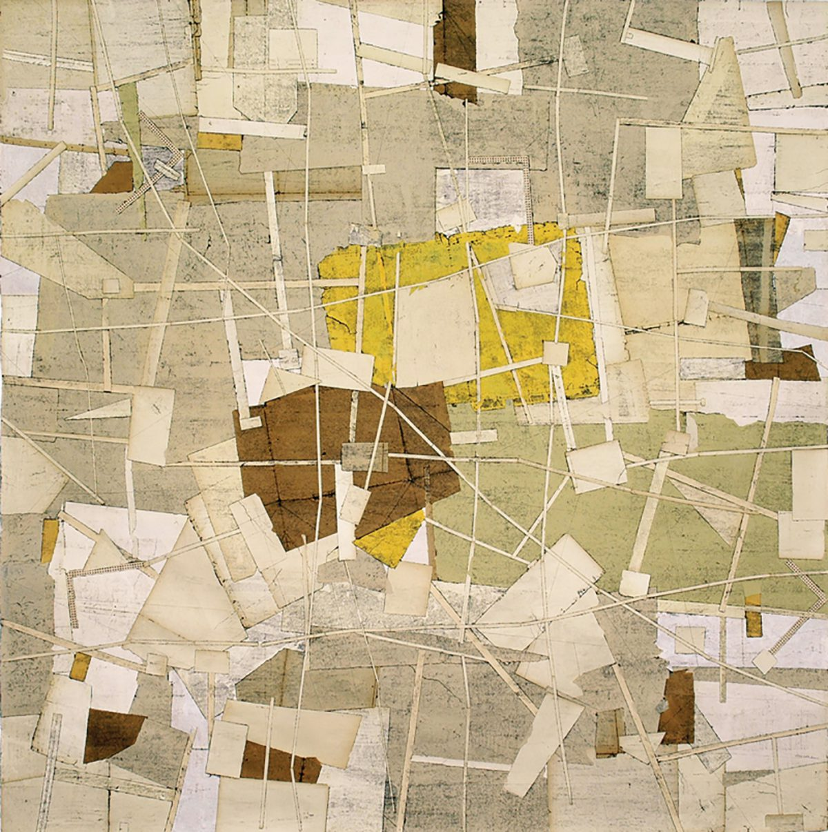 "Sam Grigorian. High was the Sky, 2006. Mixed Media, Décollage, 78"" x 78"". Courtesy CAROLINE TUFENKIAN FINE ARTS"
