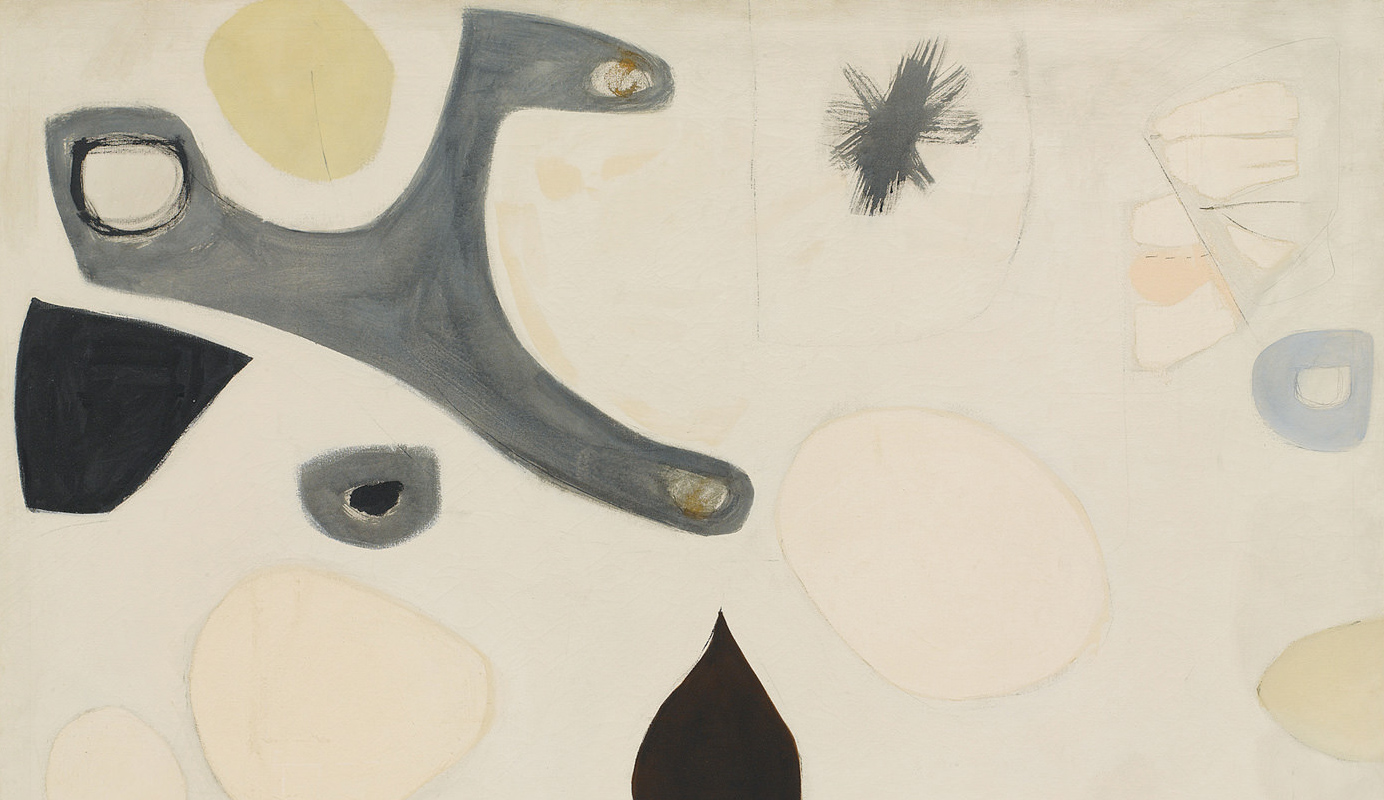 Agnes Martin | Untitled, C. 1955. Oil on Canvas, 46 1/2 x 66 1/4 inches. Private Collection. © 2016 Agnes Martin/Artists Rights Society (ARS), New York. Photo Courtesy Pace Gallery.