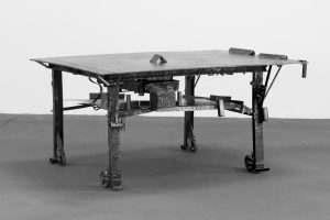 Sterling Ruby. TABLE 3, 2015. Steel. 37 1⁄2 x 72 1⁄8 x 55 1⁄4 in. (95.3 x 183.2 x 140.3 cm). Courtesy of Sterling Ruby Studio and Gagosian Gallery. Photograph by Robert Wedemeyer.