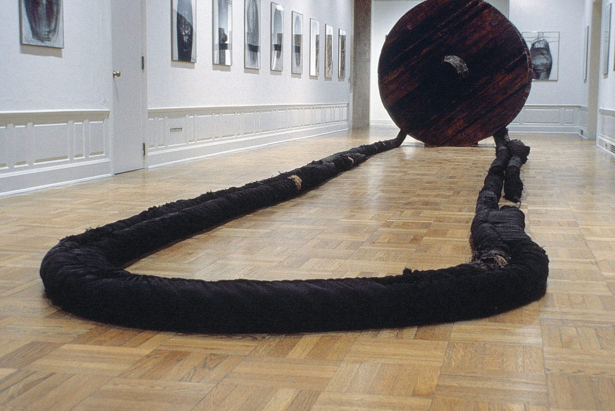 Magdalena Abakanowicz Wheel with Rope, 1973 Wood, burlap, hemp, metal line 2 wheels, diameter each: 7 ft 8 1/8 in / 2.34 m 2 ropes, each approx: 190 ft / 58 m National Museum in Wrocław, Poland © Magdalena Abakanowicz Courtesy Marlborough Gallery, New York