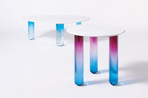 Ini Archibong Galilee Coffee Table (left), Orion Side Table (right)
