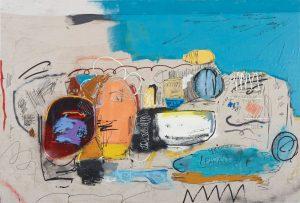Jonni Cheatwood Shellfish Saleman 66 x 97 inches Oil, oil stick, enamel, spray paint and acrylic on raw canvas