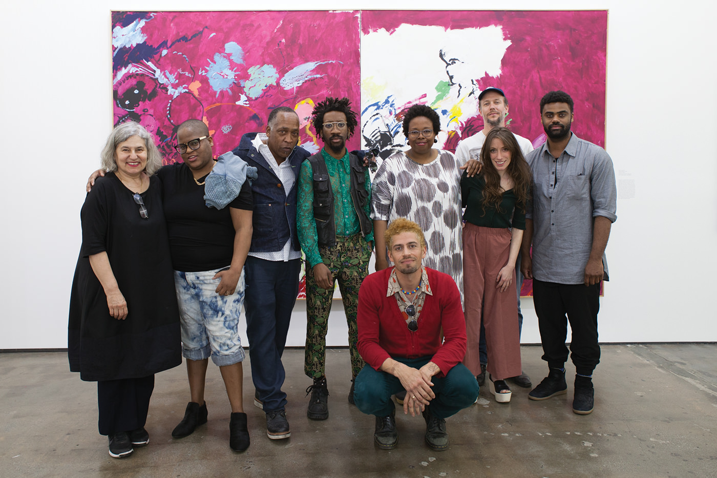(L-R) Amy Sillman, Brenna Youngblood, Henry Taylor, Torey Thornton, D'Metrius John Rice, Jamillah James, Ulrich Wulff, Jamian Juliano-Villani, and Kevin Beasley at the opening reception for 'A Shape That Stands Up' at Art + Practice. 19 March 2016. Photo by Natalie Hon.