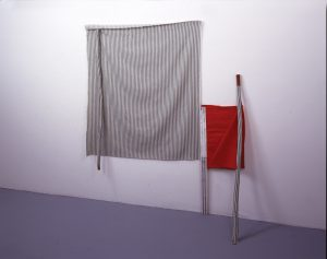 Steve DeGroodt Long Distance, 2003. The Beckett Series. Cloth with mulberry branches, and acrylic on elastic 53 x 47 x 12.5 inches