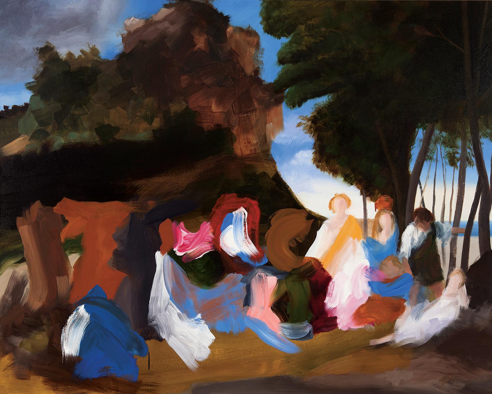 Elise Ansel. Feast of the Gods, 2013. Oil on Linen. Ellsworth Gallery, Santa Fe.