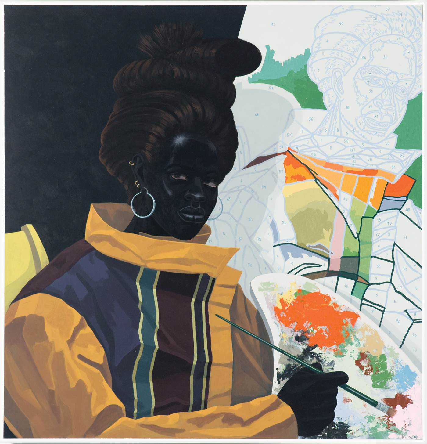 Kerry James Marshall, Untitled (Painter), 2009. Acrylic on PVC, 44 5/8 x 43 1/8 x 3 7/8 in., collection of the Museum of Contemporary Art Chicago, gift of Katherine S. Schamberg by exchange, photo by Nathan Keay, © MCA Chicago.
