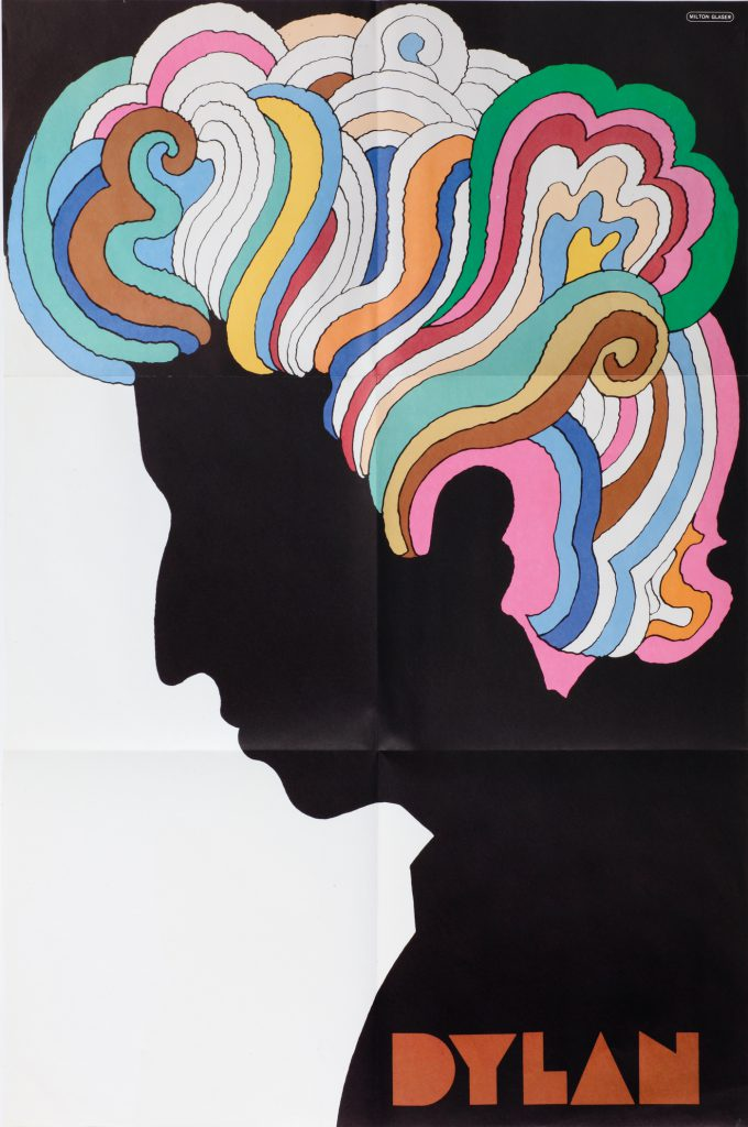 "Milton Glaser (American, b. 1929). Dylan, 1966. Poster insert, Bob Dylan,""Bob Dylan's Greatest Hits""; Offset print; 83.3 x 56 cm; Columbia Records; Gerrit Terstiege © Milton Glaser. Photo: Andreas Sütterlin"