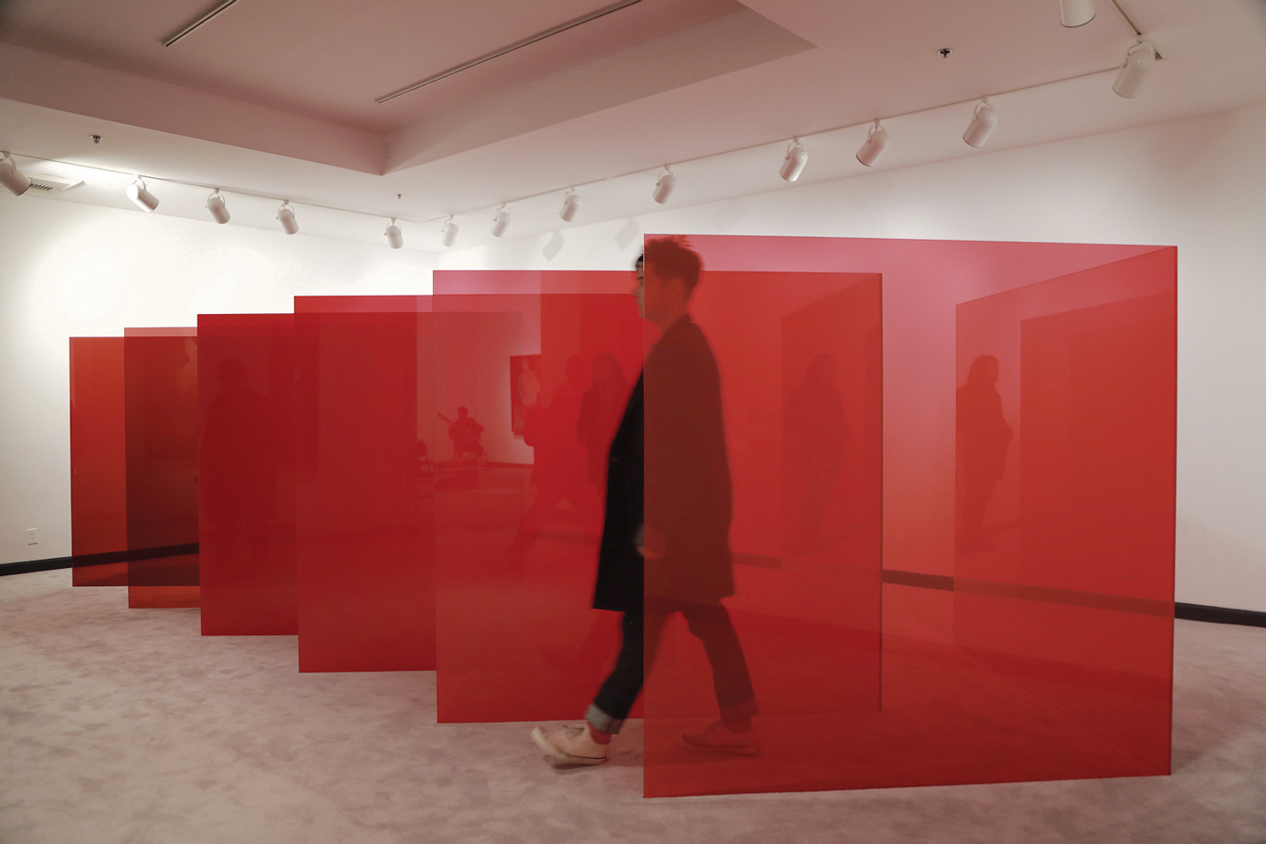 Larry Bell Pacific Red, Installation View Photo by Eric Minh Swenson
