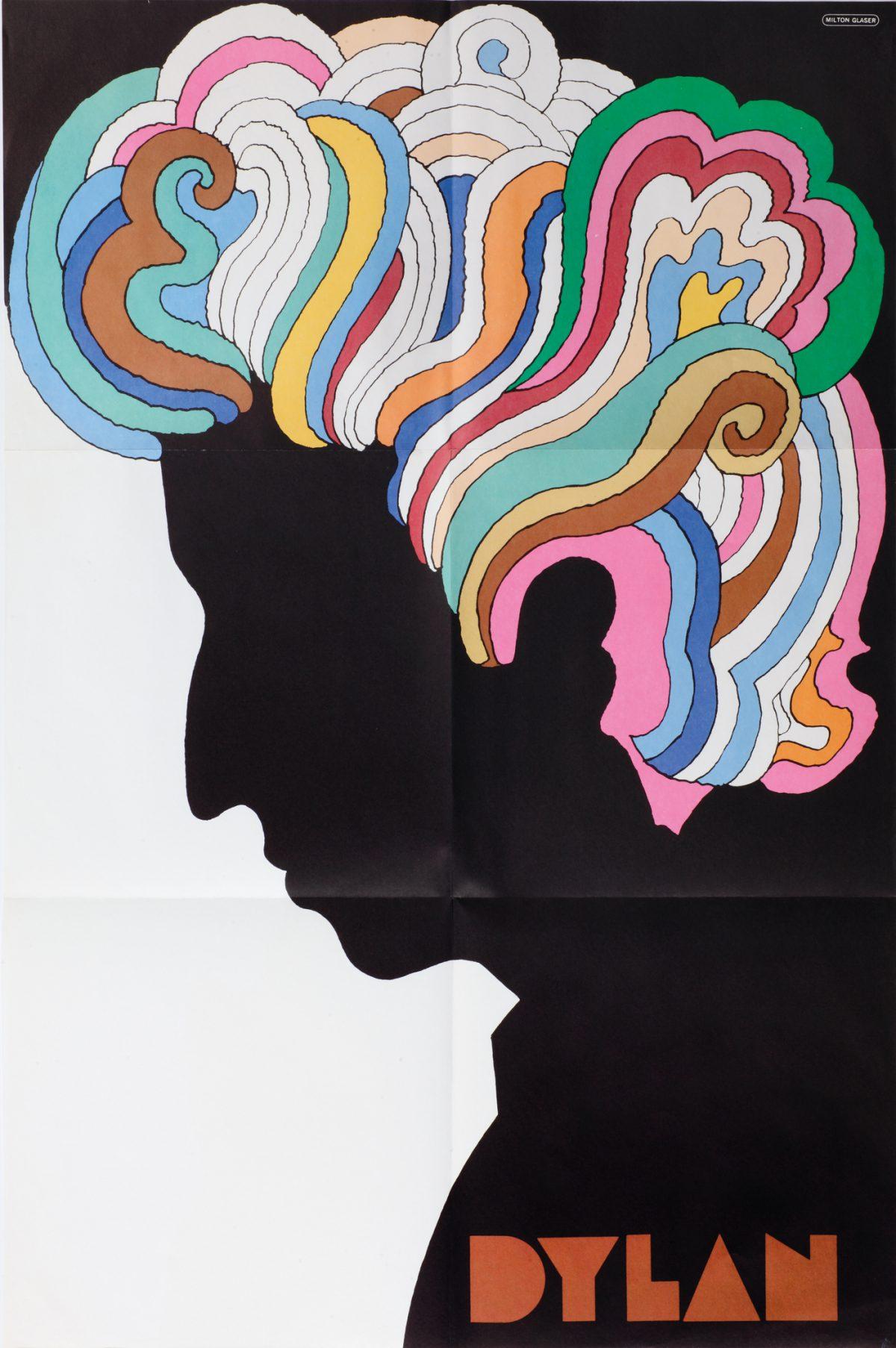 "Milton Glaser (American, b. 1929). Dylan, 1966. Poster insert, Bob Dylan,""Bob Dylan's Greatest Hits""; Offset print; 83.3 x 56 cm; Columbia Records; Gerrit Terstiege © Milton Glaser. Photo: Andreas Sütterlin"